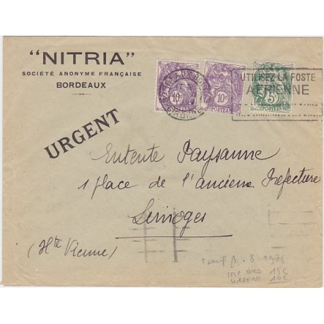 1929 BLANC paire 10c+ 5c sur IMPRIME URGENT R!