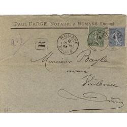 1903 Semeuse lignée 15 et 25c sur lettre recommandée