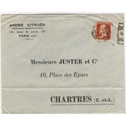 N° 175 Pasteur 45c rouge seul sur lettre double