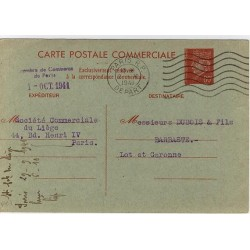 Entier Petain 80c Carte Commerciale