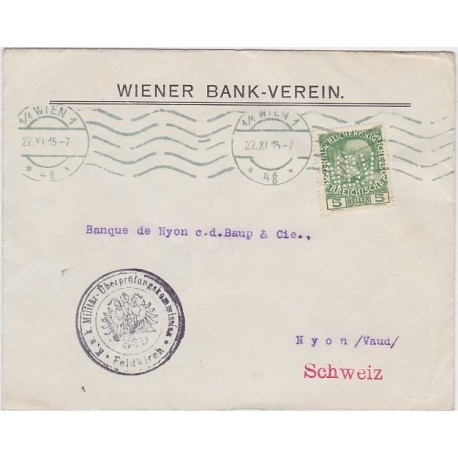 "1915 Austria Perfin ""WBV"" Wiener Bank Verein censor"