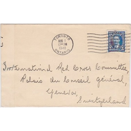 1940 Canada Censored cover to Switzerland