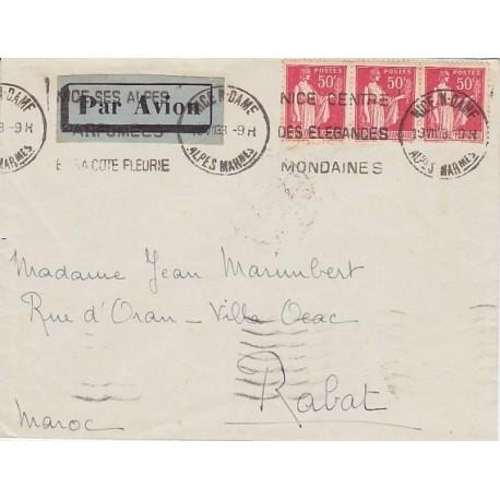 N°283 50c PAIX lettre AVION MAROC