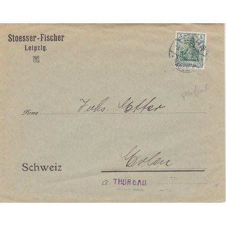 Germany 1911 PERFIN on printed matter