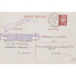 1942 SERVICE CENTRAL RECUPERATION BAGAGES MILITAIRES sur Entier CP PETAIN 1f20 cachet et griffe